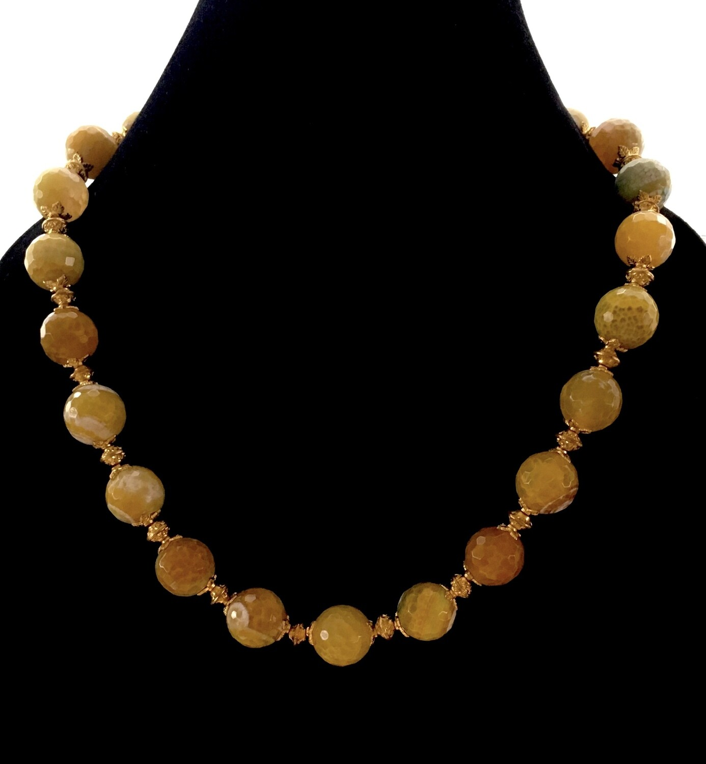 Ochre agate beads necklace