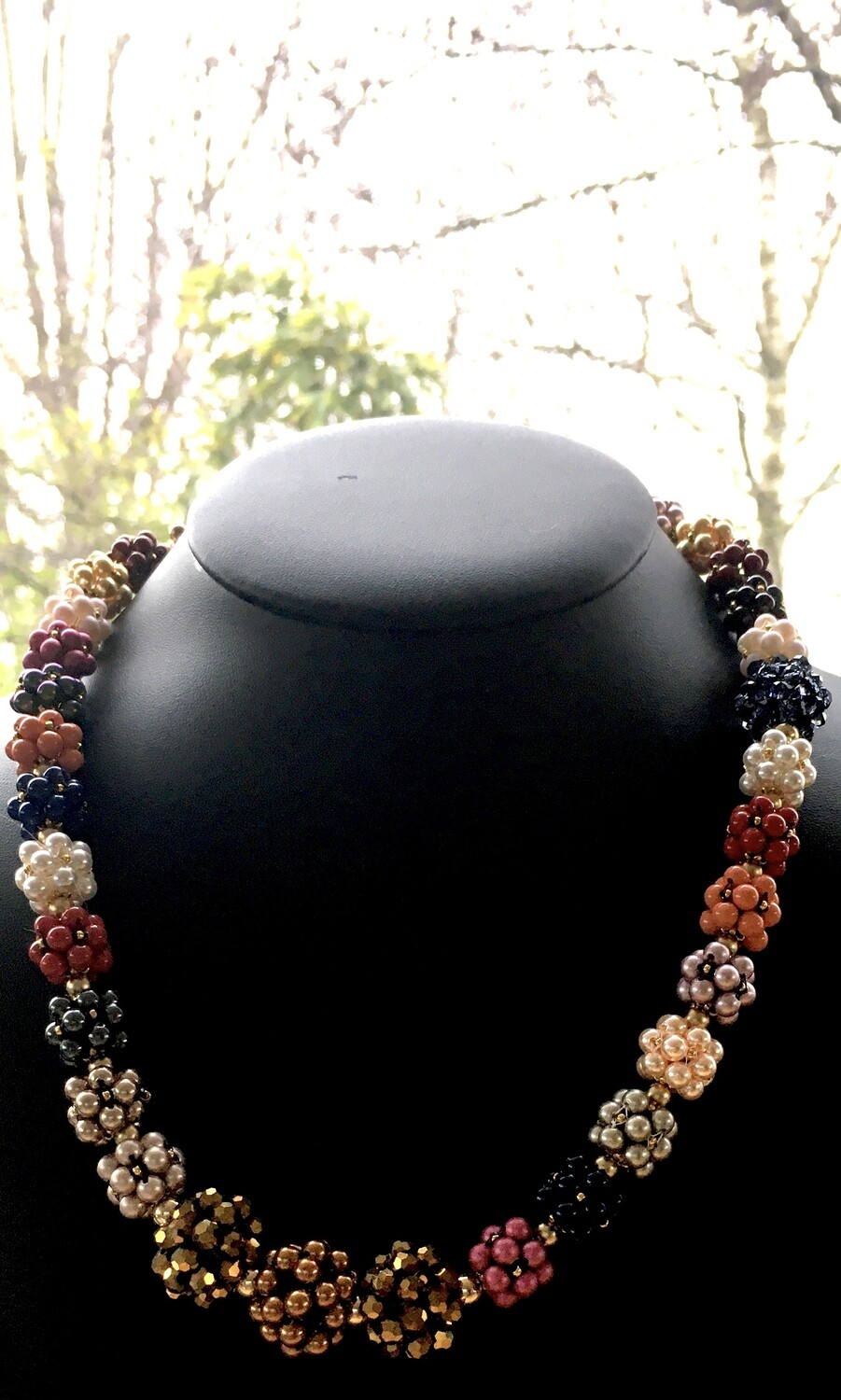 Multi-coloured beaded ball necklace