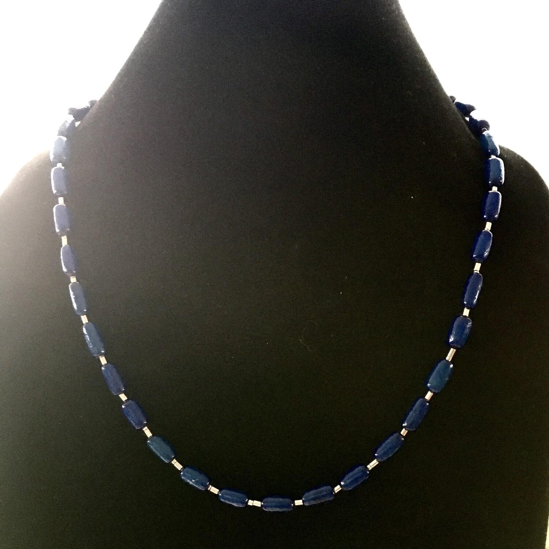 Lapis blue long beads necklace