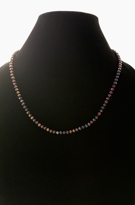 Purple iridescent beads necklace