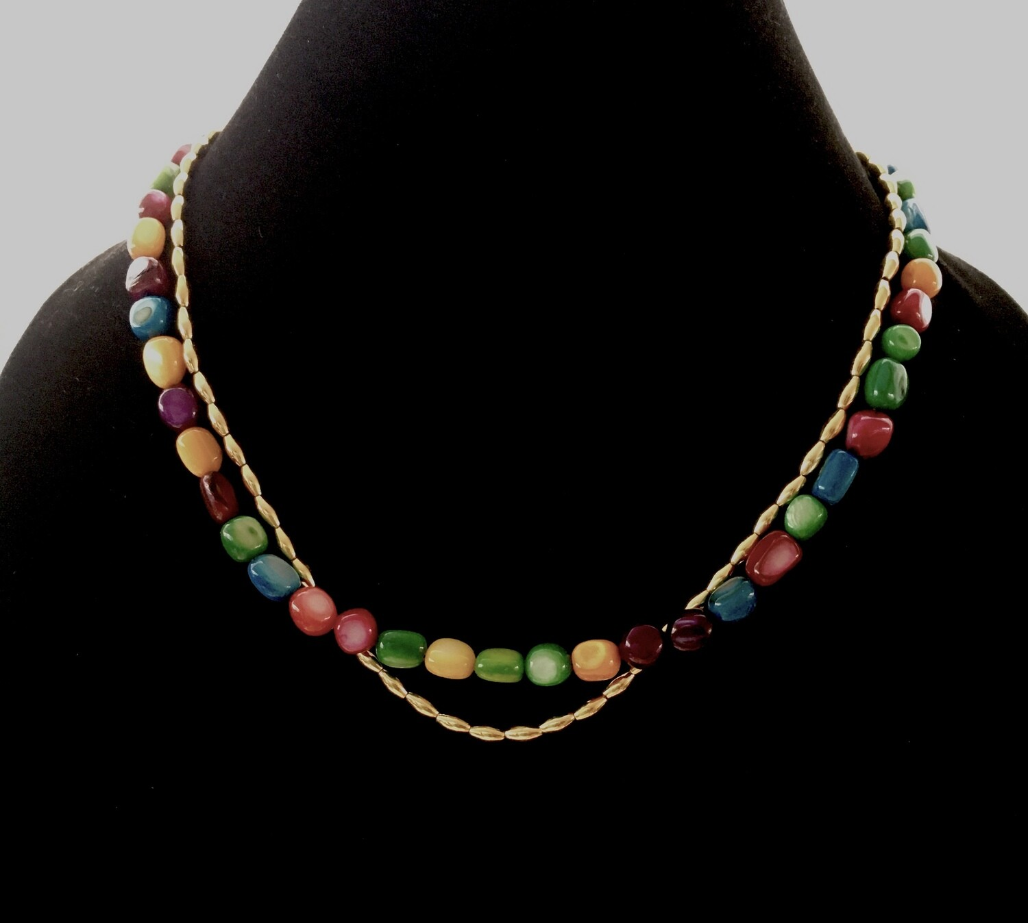 "Multi coloured ""candy "" and gold beads necklace"