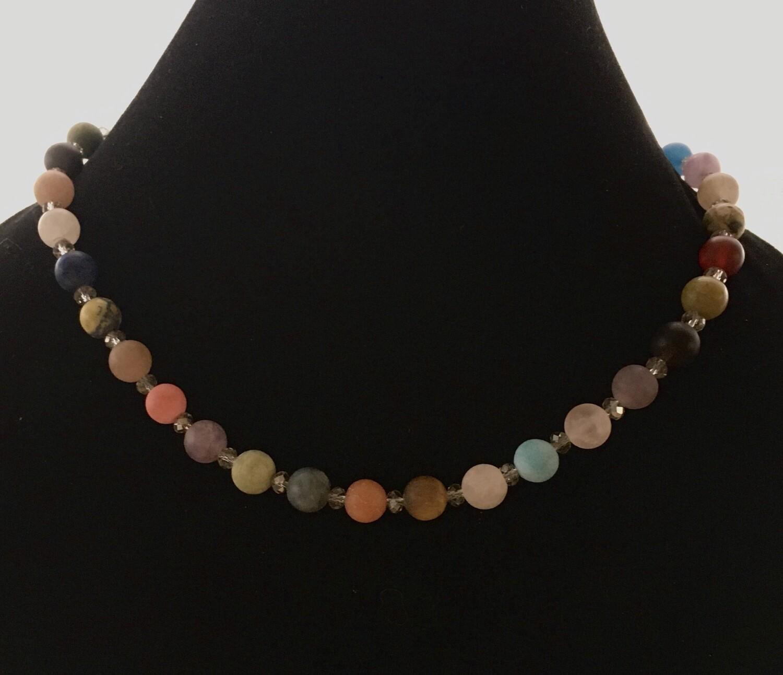Smoky multi coloured agate necklace