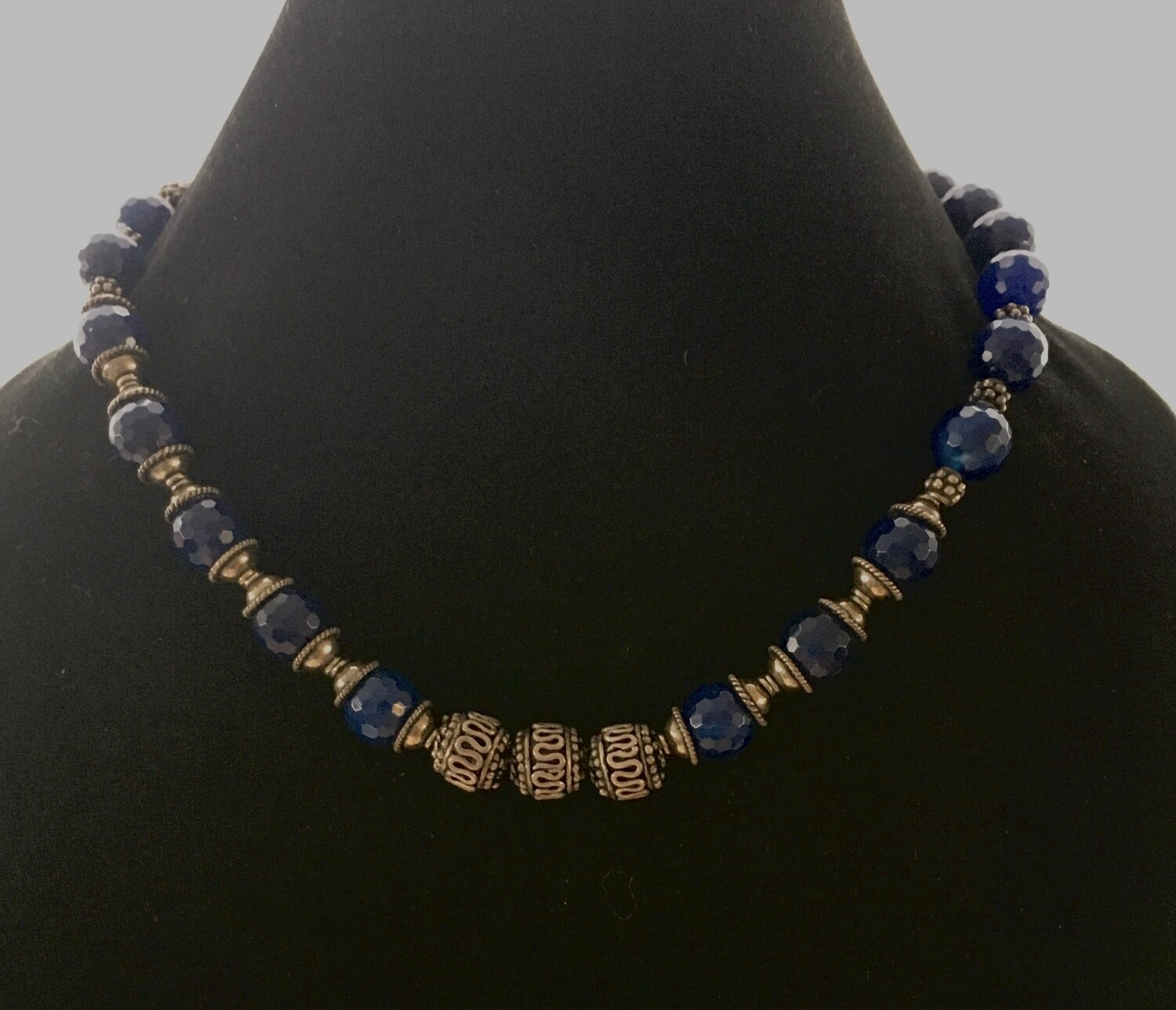 Faceted blue agate and Bali silver necklace