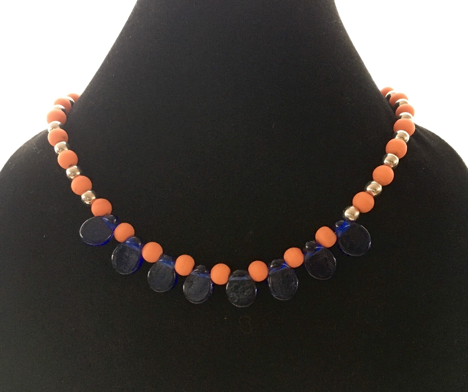 Blue teardrop and orange beads necklace