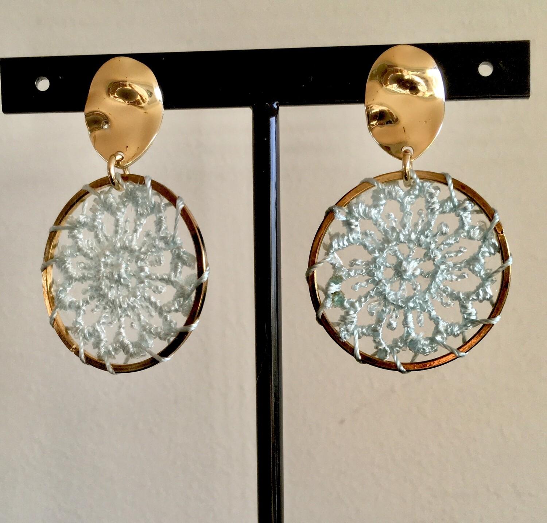 Ice blue dream catcher earrings