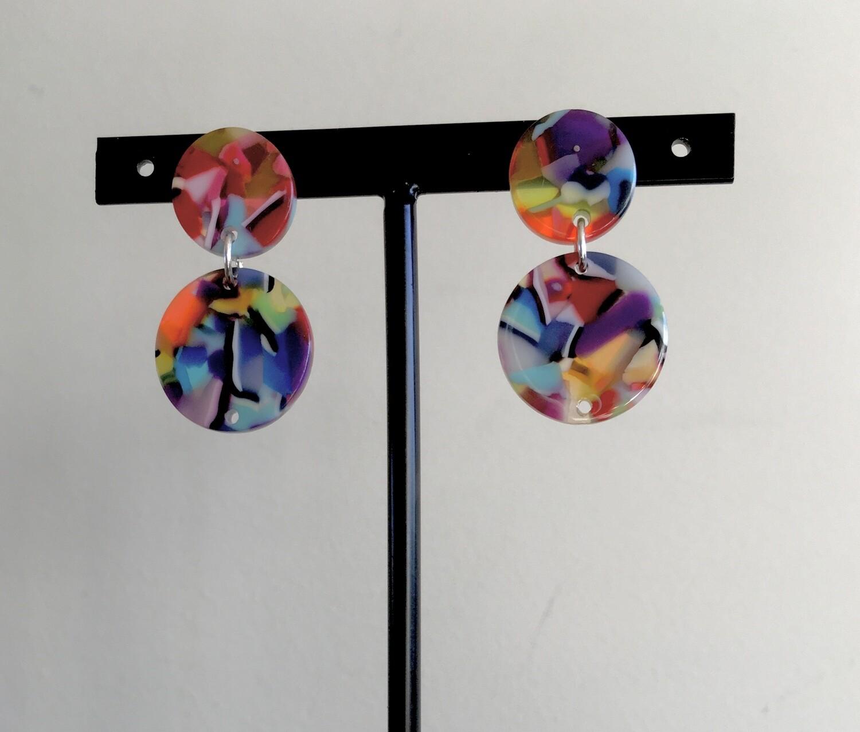 Multi  coloured wheels earrings