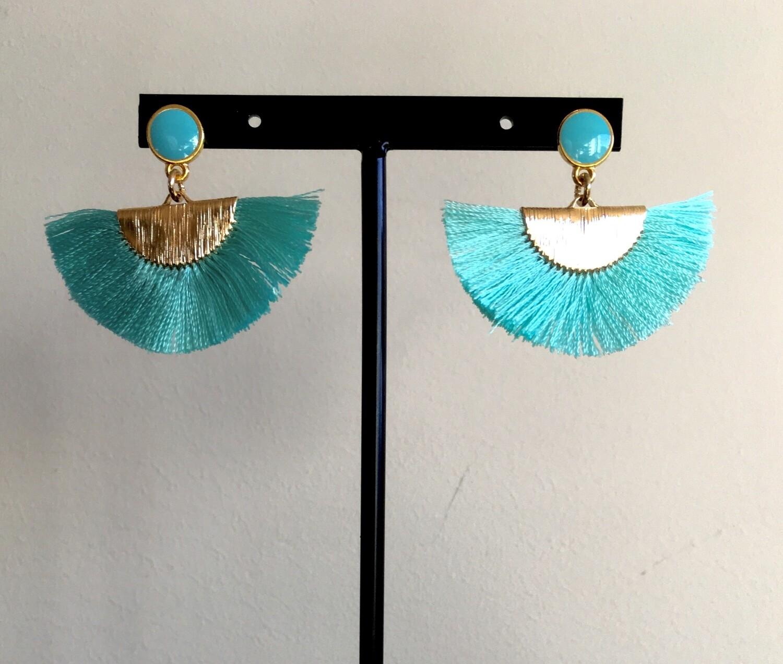 Blue emerald fan earrings