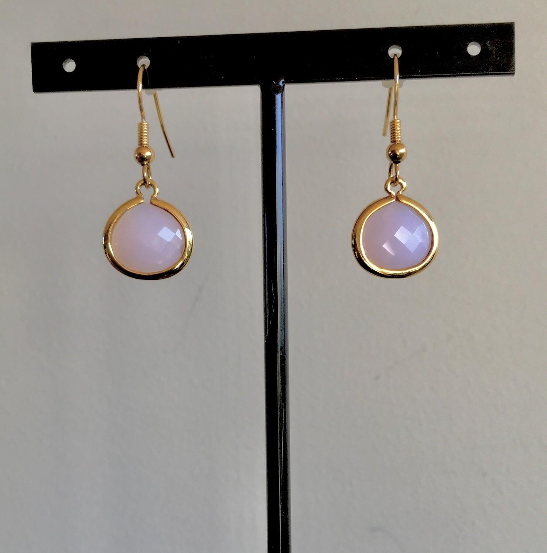 Faceted rose agate earrings