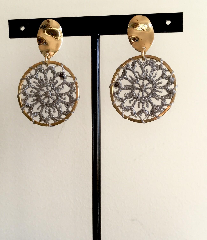 Grey dream catcher earrings