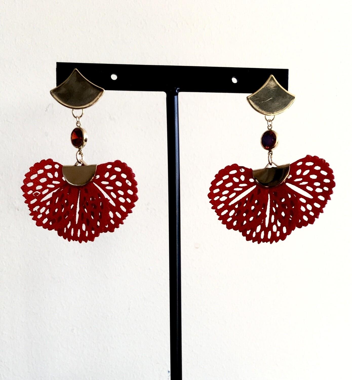 Red lace wings earrings