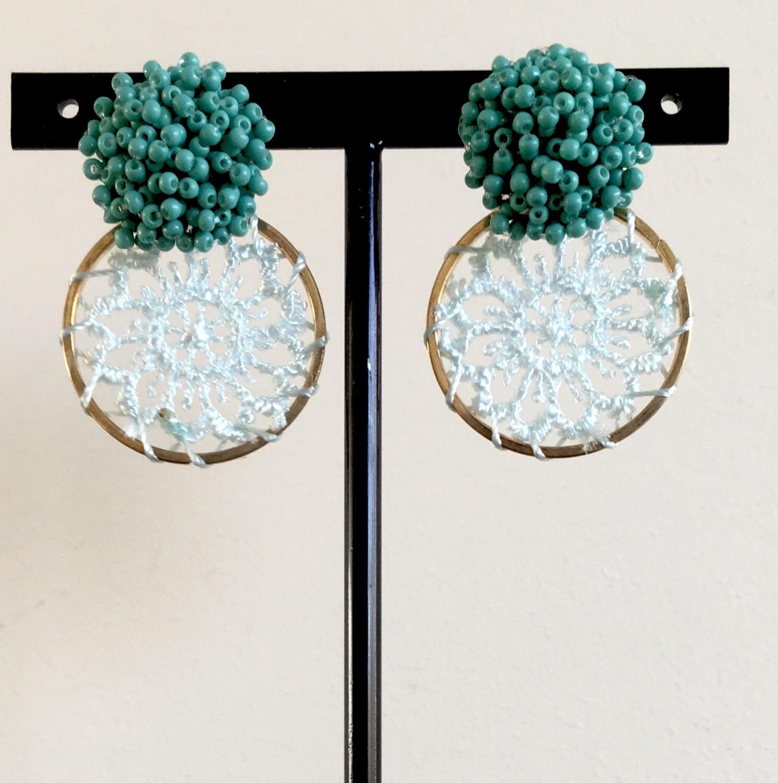 Green dream catcher earrings