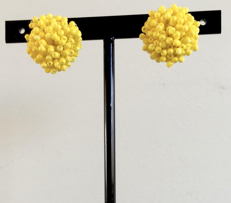 Yellow beads cluster earrings