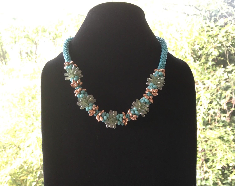 Aquamarine bloom  Kumihumo necklace