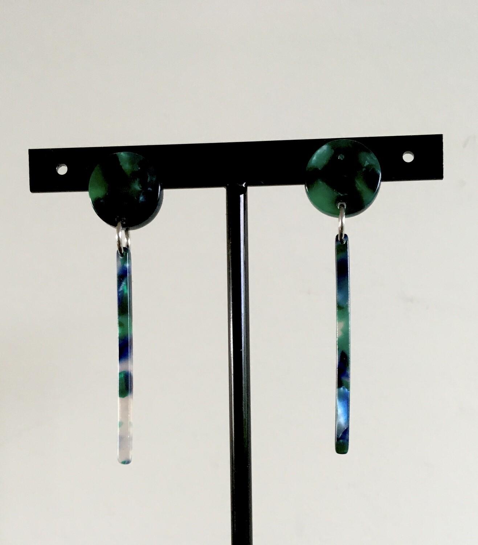 Malachite line earrings