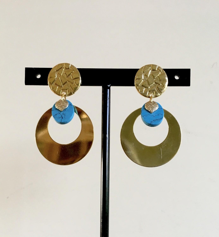 Golden blue eclipse earrings