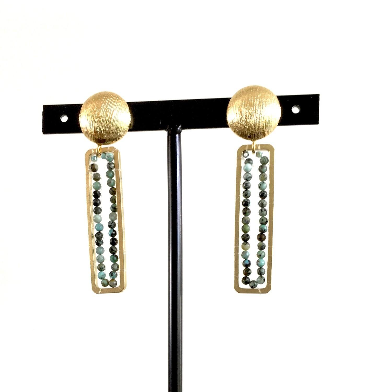 Malachite seeds earrings