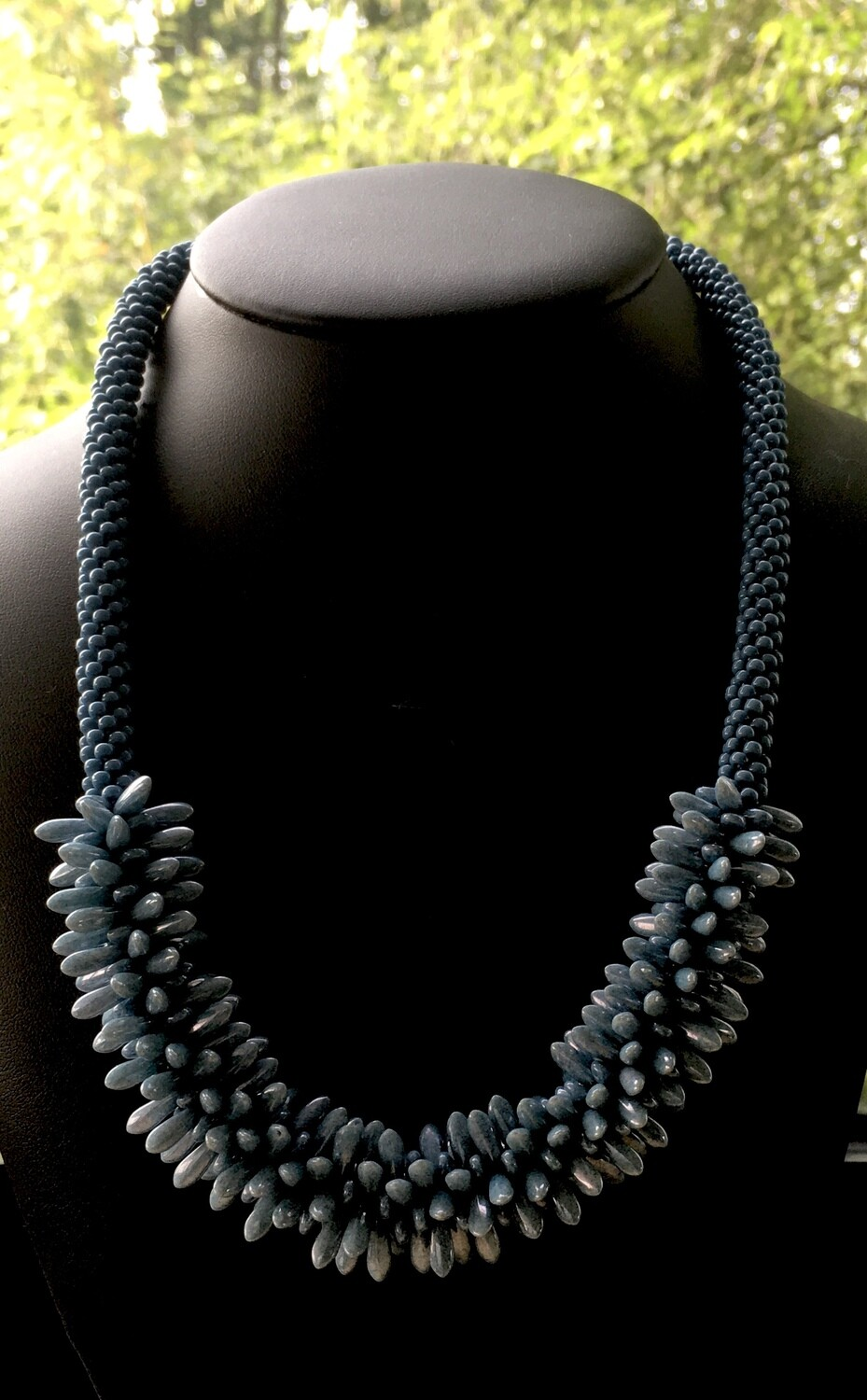 Pearly blue cluster Kumihumo necklace