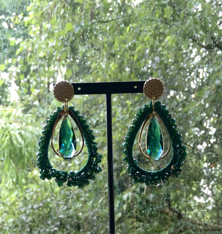 Emerald bling earrings