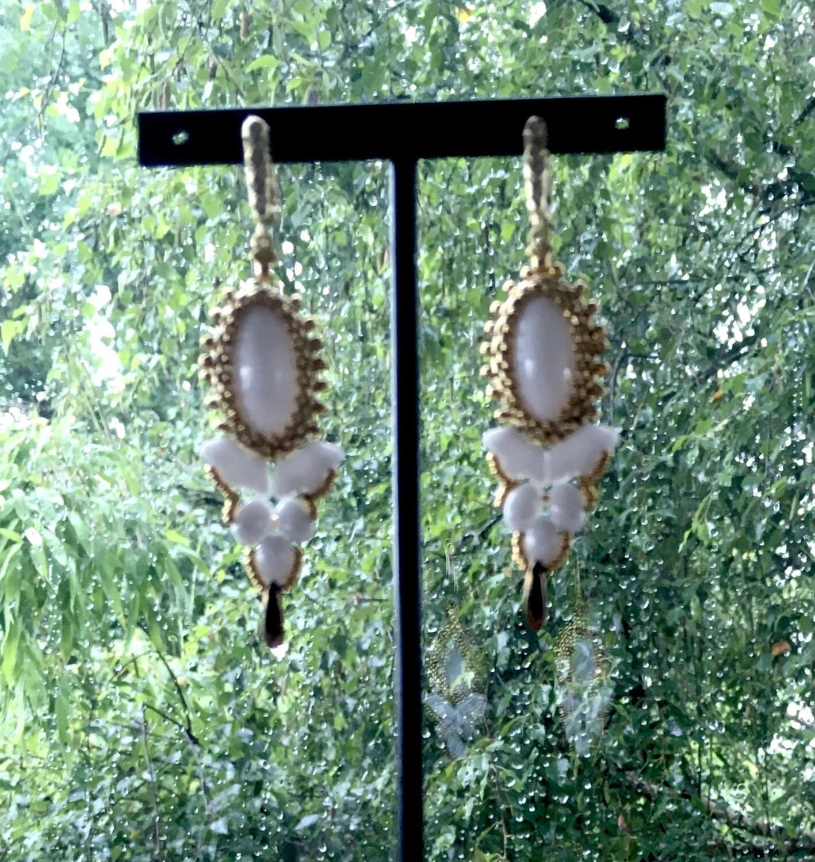 White orchid earrings