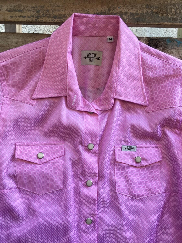 Camicia donna micro fantasy pink