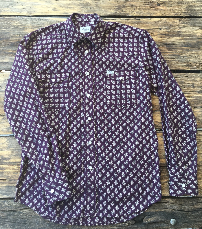 Camicia uomo-BORDEAUX JACQUARD