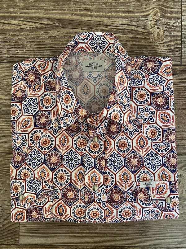 Camicia uomo Orange Blue geometric