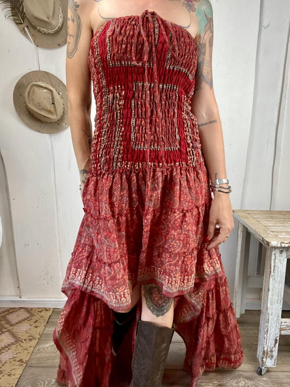 Abito in seta Dolly rosso bandana