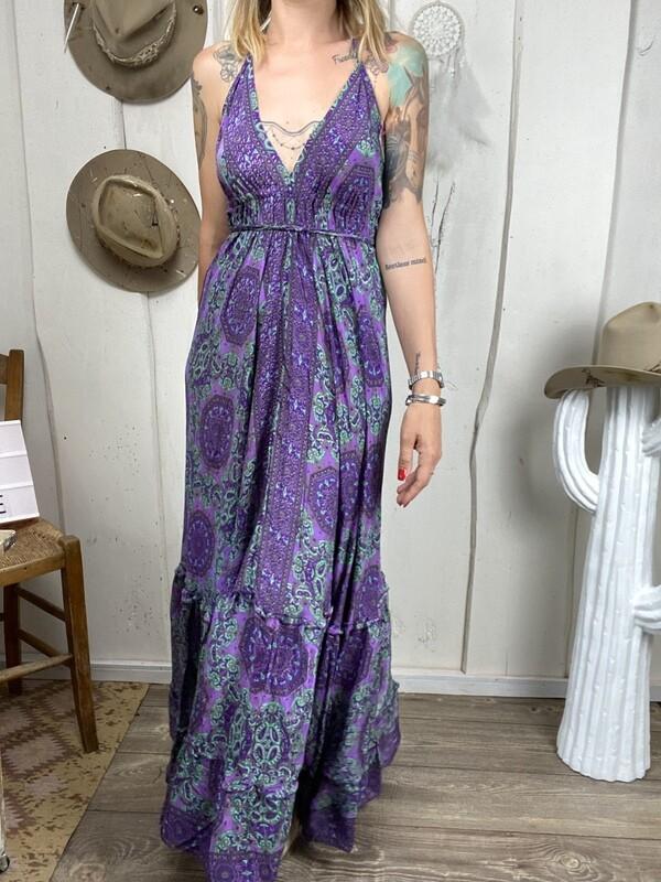 Abito in seta Senorita purple/mint