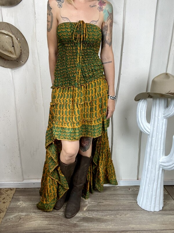 Abito in seta Dolly mustard
