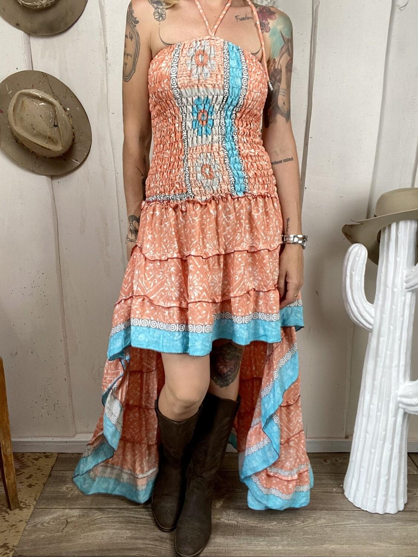 Abito in seta Dolly peach & flowers
