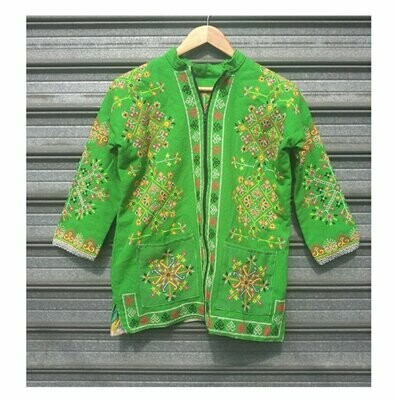 70s Green Embroided  Ethnic Jacket