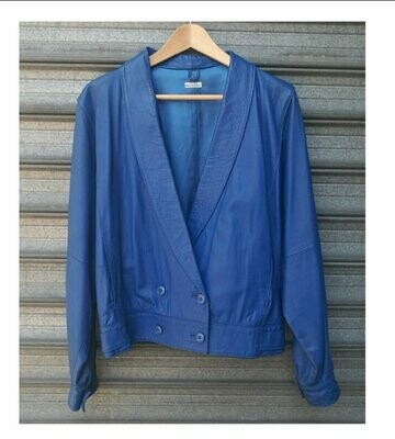 80s Blue Leather Jacket