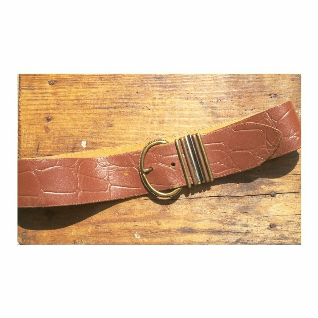 70s Brown Patterned Leather Belt