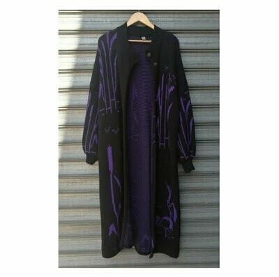 70s Black & Purple Maxi Cardi
