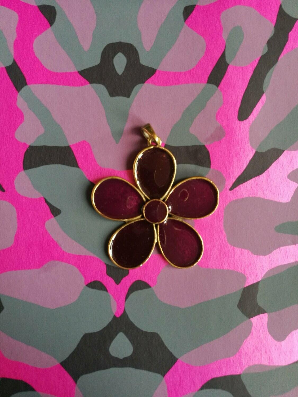70s Purple Glass & Brass Flower Pendant