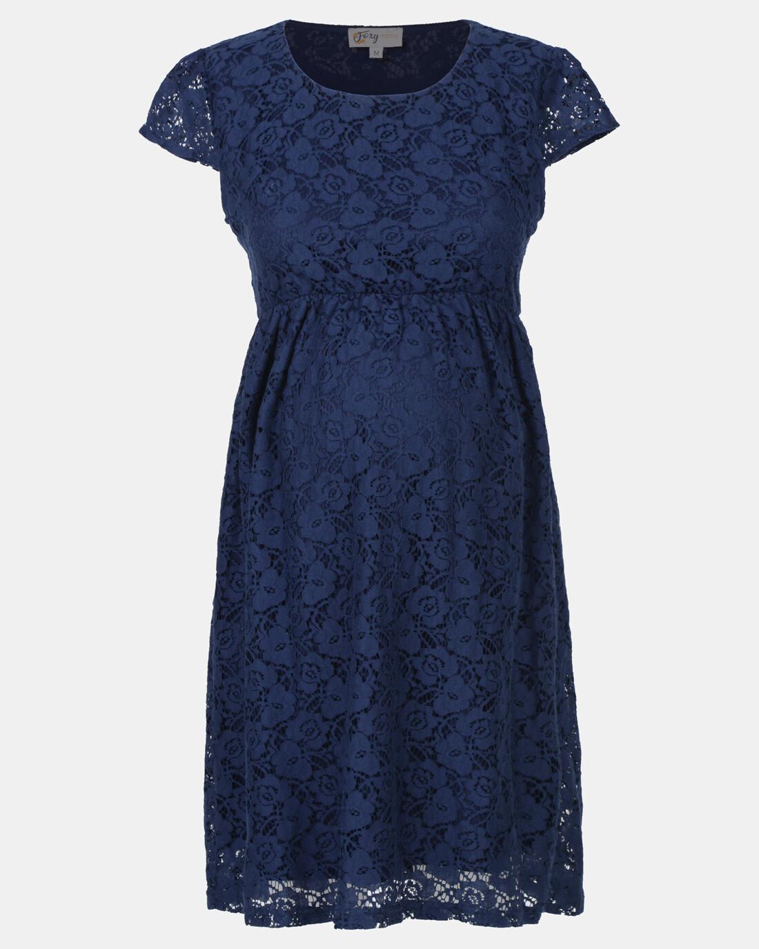 Navy Blue Maternity Lace Dress