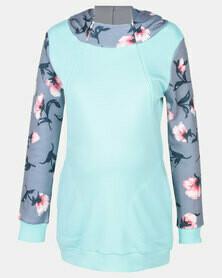Mint Floral Nursing Hoodie Top