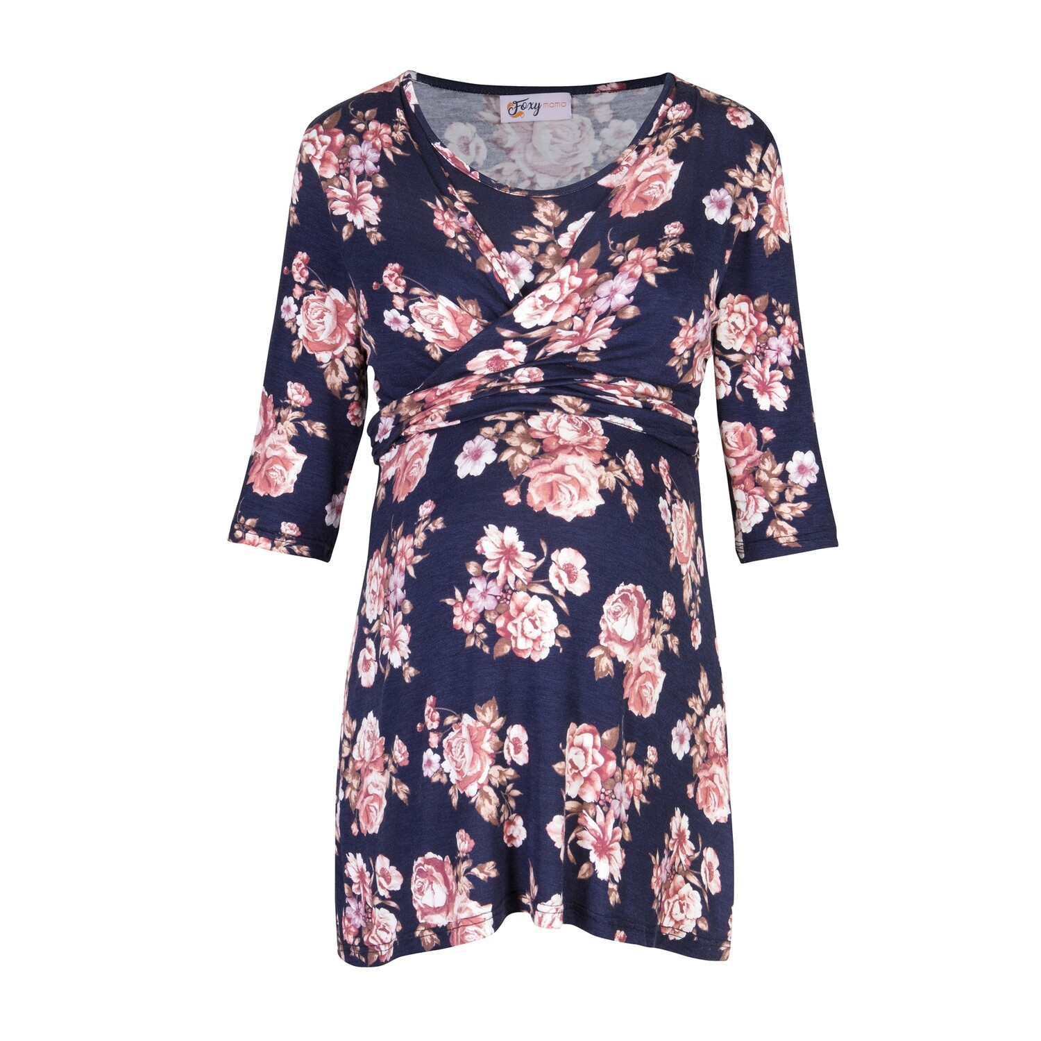 Navy Floral Nursing Wrap Top