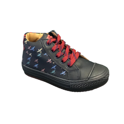 Stones and Bones jongensschoenen Volc calf navy+cherry