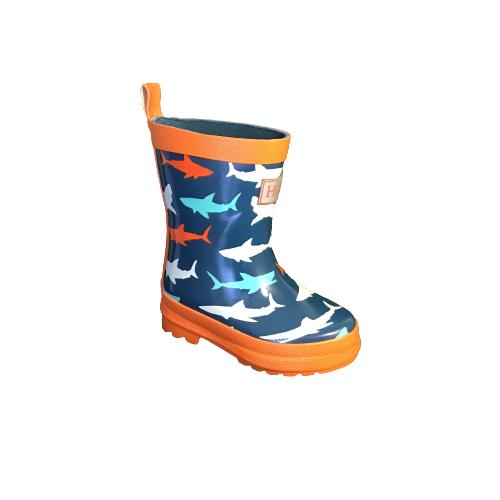 Hatley regenlaarzen shark navy/orange