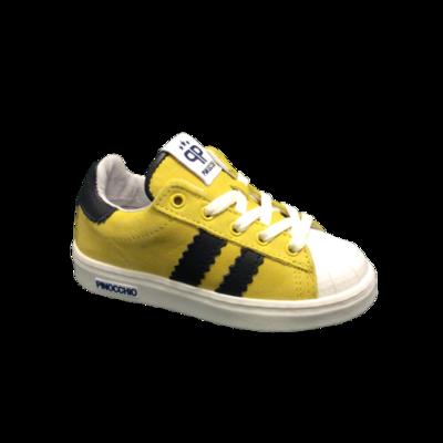Hip jongensschoenen zomer geel nubuck + donkerblauw