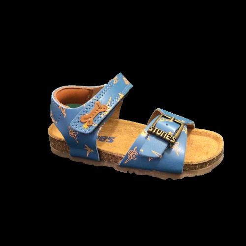 Stones and Bones sandalen jongens Losto calf l. blue+orange fluo