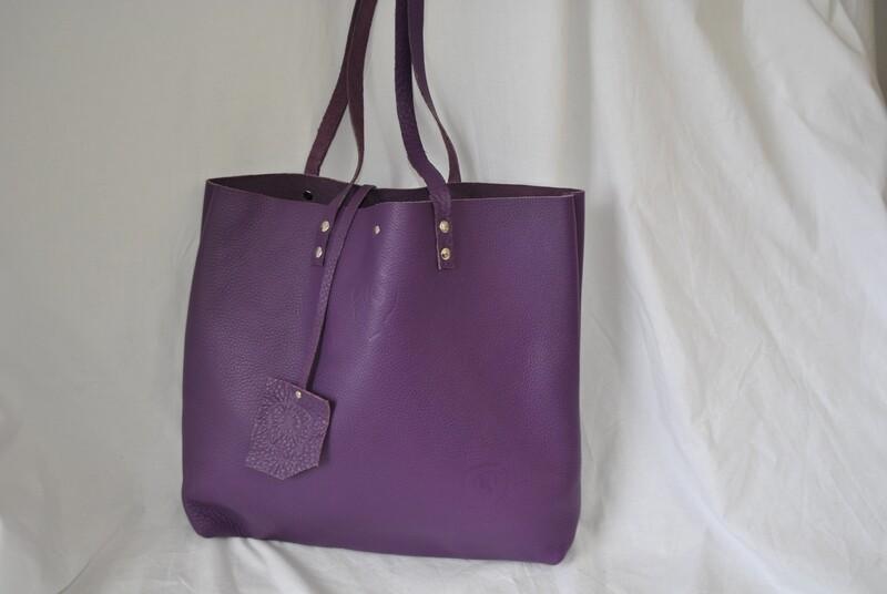 cabas cuir violet