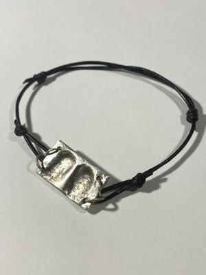 Cord Bracelet Sterling Silver Charm