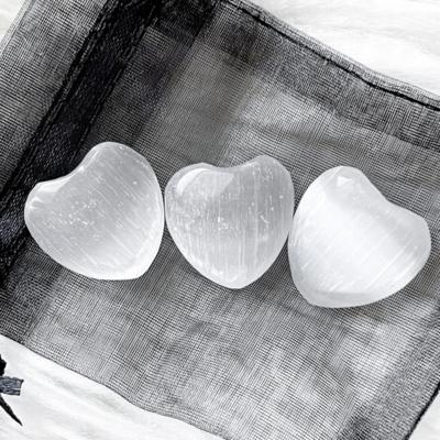 Selenite Pocket Hearts