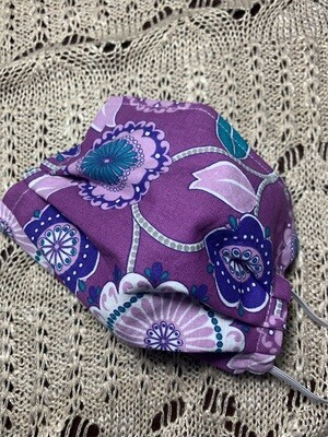 Hand-made Jewel Floral Dots & Vines Face Covering - Medium