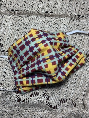 Hand-made Tibetan Red Check Plaid Face Covering - Extra Small