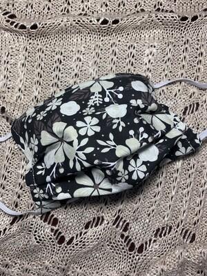 Hand-made Black Magenta Flower Face Covering - Medium