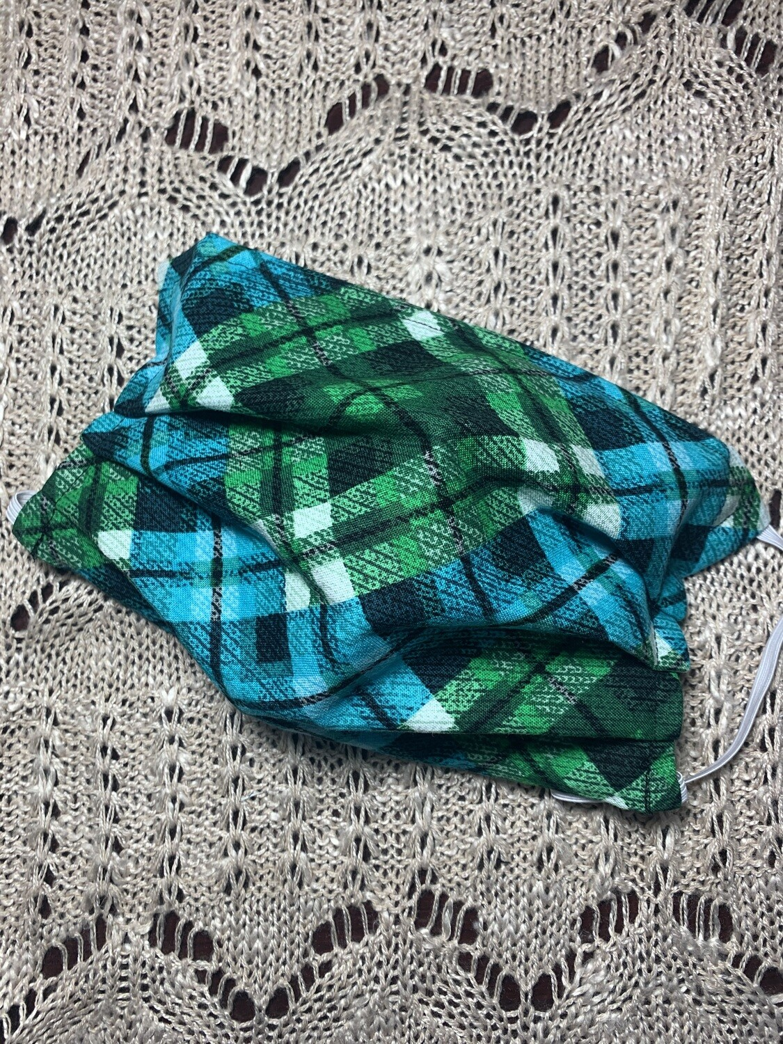 Hand-made Distressed Green & Blue Plaid Face Covering - Large