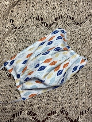 Hand-made Blue Quartz Sketched Leaves Face Covering - Medium